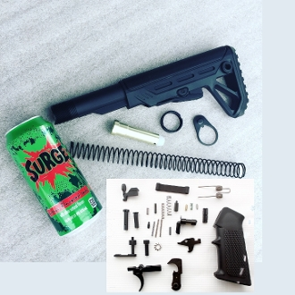 Surge Ar15 Lower build kit. stock and lpk with can of Surge